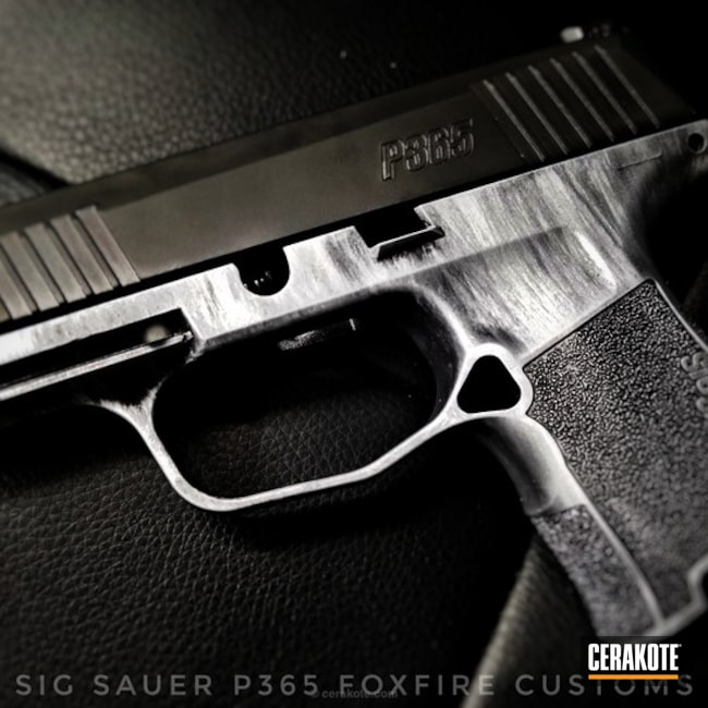 "Thumbnail image for project ""Sig Sauer P365 done in Cerakote Satin Aluminum and Blackout"""