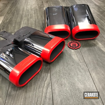 Cerakoted Exhaust Tips Done In Cerakote Gloss Black And Stoplight Red