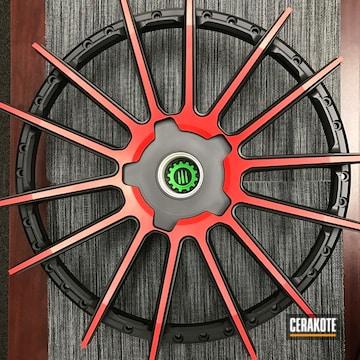 Cerakoted Cerakote Graphite Black And Usmc Red On This Custom Rim