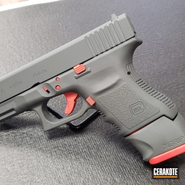 Glock 30 Handgun done in H-167 USMC Red and H-234 Sniper Grey