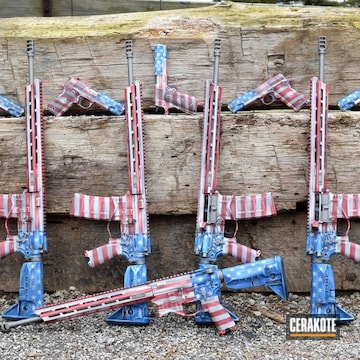 Set Of American Flag Handguns And Ar's