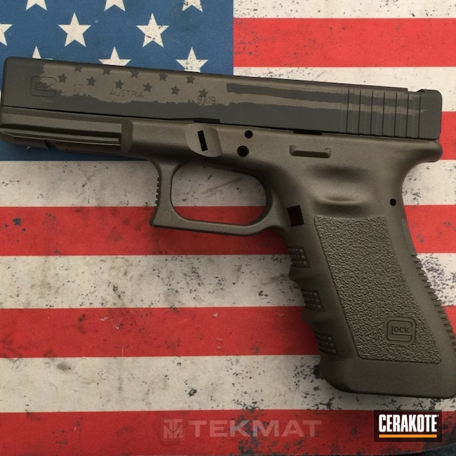 Glock 17 Handgun finished in Cerakote Graphite Black and Burnt Bronze