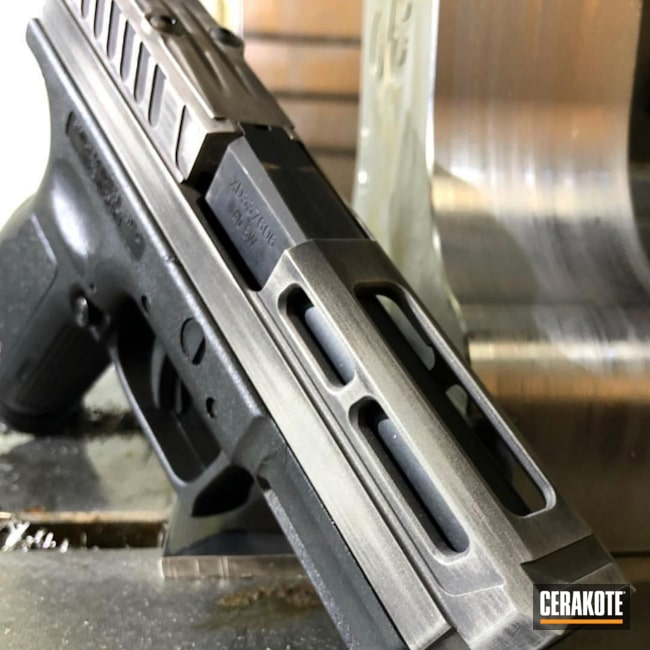 Custom Springfield XD Handgun in a Distressed Cerakote Finish
