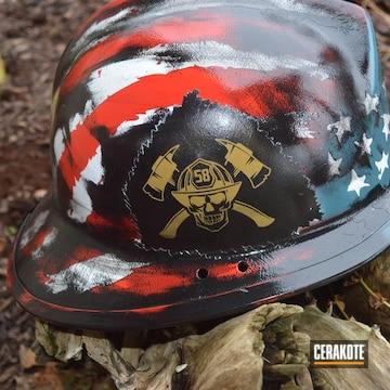 Cerakoted Custom Firefighter Helmet In A Tattered American Flag Finish