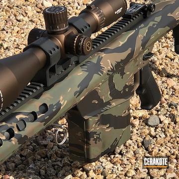 Cerakoted Barrett Bolt Action Rifle In A Tiger Stripe Camo Finish