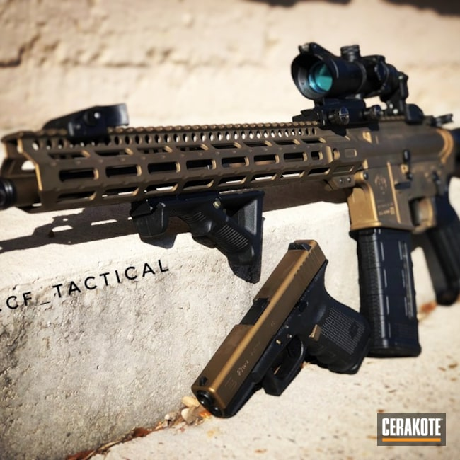 "Thumbnail image for project ""AR Rifle and Glock in a Cerakote H-148 Burnt Bronze"""