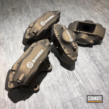 Cerakoted Brembo Brake Calipers Done In H-148 Burnt Bronze And H-151 Satin Aluminum