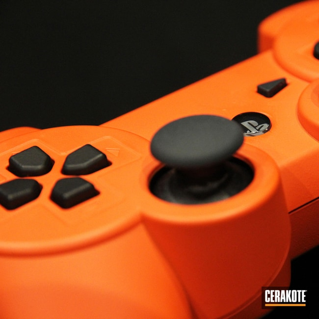 Cerakoted: playstation,controller,Video Games,More Than Guns,Electronics,Gaming,Hunter Orange H-128,videogame