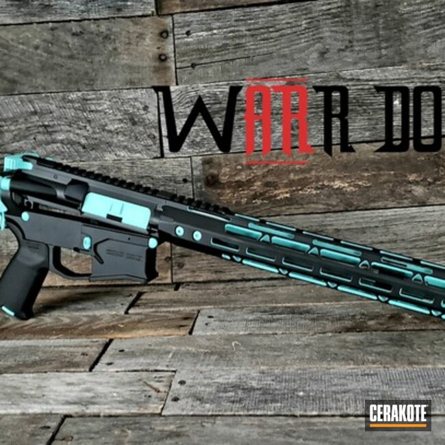 Two Toned AR-15 in Cerakote Robin's Egg Blue and Graphite Black
