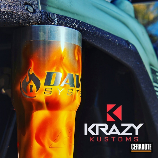 Smaller version of the 1st project picture. Not Just Guns, Flames, Custom Tumbler Cup, High Gloss Ceramic Clear MC-160Q
