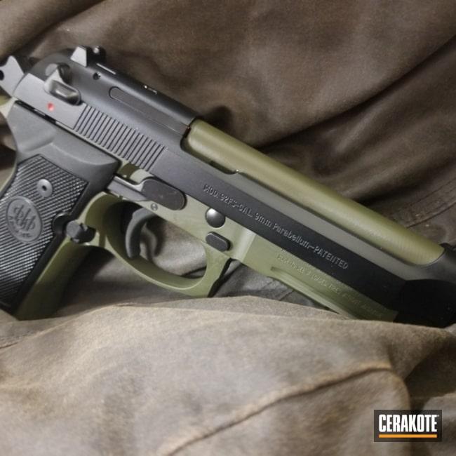 Cerakoted Beretta Handgun In H-264 Mil Spec Green