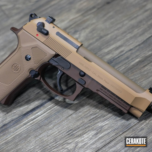 Cerakoted: m9a3,BARRETT® BRONZE H-259,Two Tone,BARRETT® BROWN H-269,Airsoft,Pistol,Beretta,Beretta M9A3