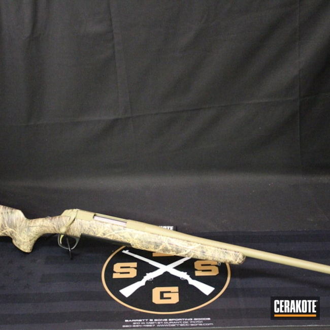 Browning X-Bolt Rifle coated in H-235 Coyote Tan
