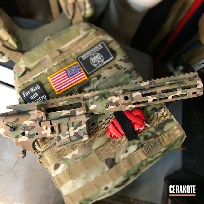 Upper / Lower / Handguard in a Cerakote MultiCam Finish