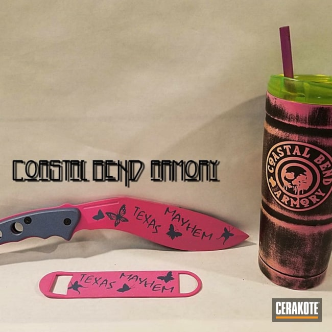 Cerakoted: Distressed Pink,Fixed-Blade Knife,Graphite Black H-146,Distressed,More Than Guns,Prison Pink H-141,Custom Tumbler Cup,Blue Titanium H-185
