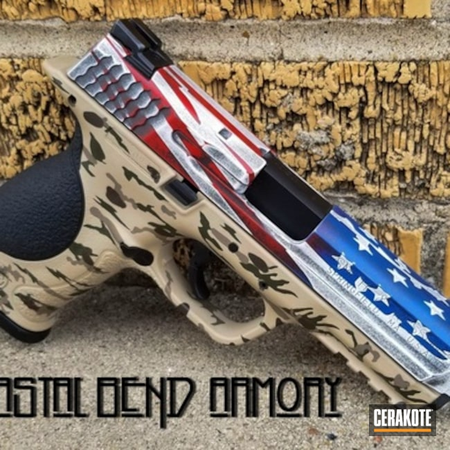 Cerakoted: NRA Blue H-171,MAGPUL® FLAT DARK EARTH H-267,Snow White H-136,Graphite Black H-146,Distressed,Smith & Wesson,Distressed American Flag,USMC Red H-167,Smith & Wesson M&P,M&P 40,40cal,Chocolate Brown H-258
