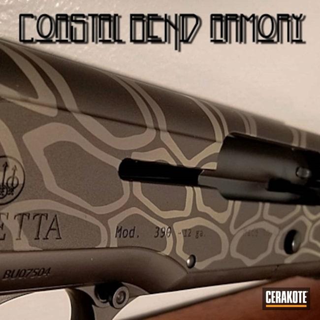 Cerakoted: Kryptek,Semi-Auto Shotgun,Shotgun,Beretta 390,Graphite Black H-146,Bird Gun,Tungsten H-237,Beretta,Cobalt H-112