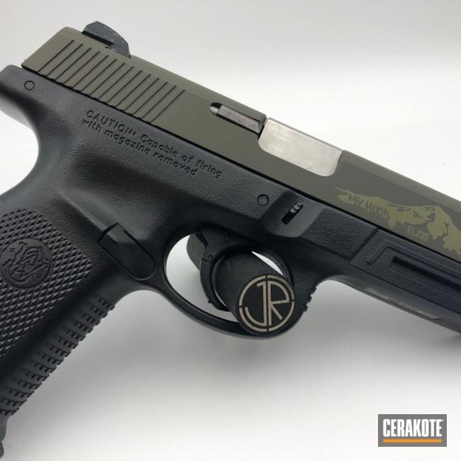 Cerakoted: Smith & Wesson,Pistol,Laser Imaging,Mt. Hood,O.D. Green H-236,Laser Engrave