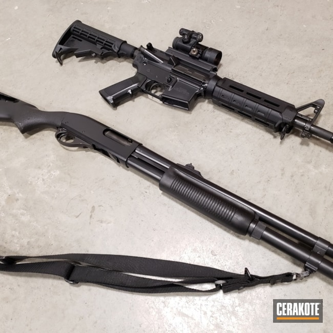 "Thumbnail image for project ""Restored AR-15 and Shotgun with Cerakote E-100 Blackout"""