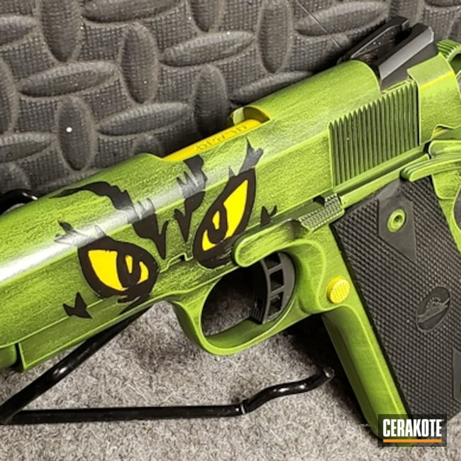 Smaller version of the 2nd project picture. Graphite Black H-146Q, Rock Island Armory, 1911, Pistol, Rock Island Armory 1911, Custom 1911, Electric Yellow H-166Q, Zombie Green H-168Q, Grinch
