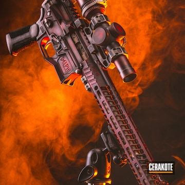 Cerakoted Custom Dp-15 Legionnaire Rifle With A Distressed Red And Black Cerakote Finish