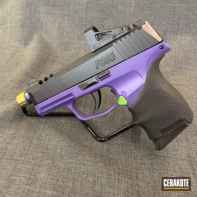 Smaller version of the 1st project picture. Sig Sauer, Pistol, Bright Purple H-217Q, Zombie Green H-168Q, Sig Sauer P365
