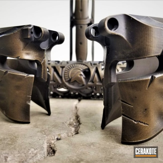 Spartan Helmet Lowers in a Cerakote Burnt Bronze and Graphite Black Finish