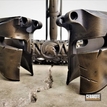 Cerakoted Spartan Helmet Lowers In A Cerakote Burnt Bronze And Graphite Black Finish