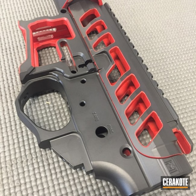 Cerakoted: Graphite Black H-146,Two Tone,F1 Firearms,Upper / Lower / Handguard,SMITH & WESSON® RED H-216