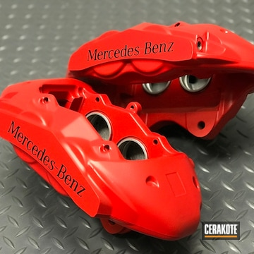 Cerakoted Mercedes-benz Brake Calipers Finished In Cerakote Stoplight Red And Midnight Blue