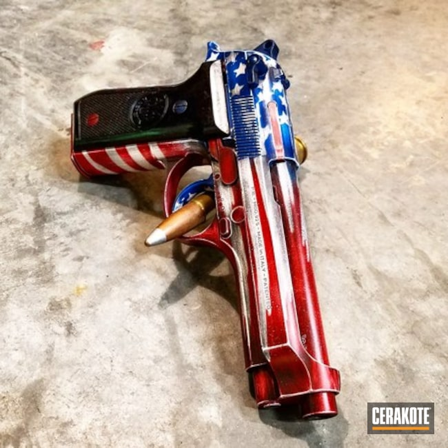 Beretta Handgun with a Cerakote Distressed Flag Finish