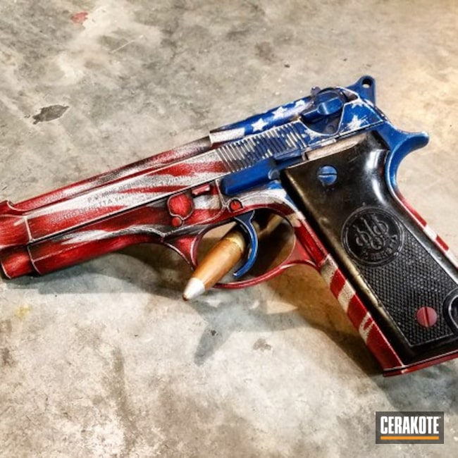 Cerakoted: 9mm,Custom,Snow White H-136,Distressed,Distressed American Flag,Armor Black H-190,Pistol,Beretta,Beretta 92S,SMITH & WESSON® RED H-216,Sky Blue H-169