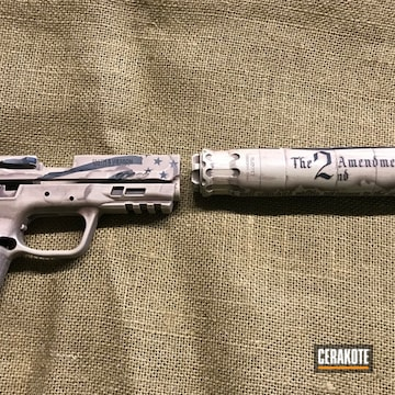 Cerakoted Smith & Wesson Handgun With A Scroll 2nd Amendment Finish