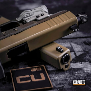 Cerakoted Glock 17 Done In H-187 Noveske Tiger Eye Brown
