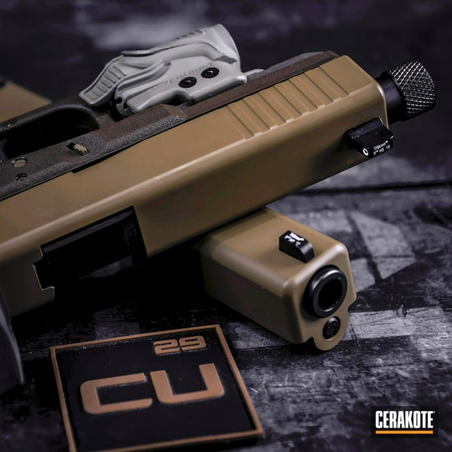 Cerakoted: Noveske Tiger Eye Brown H-187,Pistol,Glock,Glock 17,Slide,Handguns