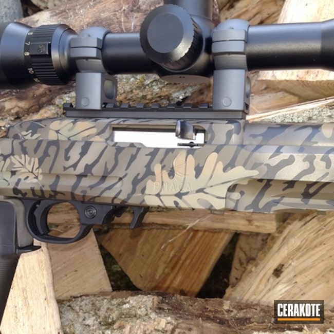 Cerakoted: Coyote Tan H-235,Ruger,Ruger Charger,Camo,10-22,Armor Black H-190,Leaf Patterns,Chocolate Brown H-258