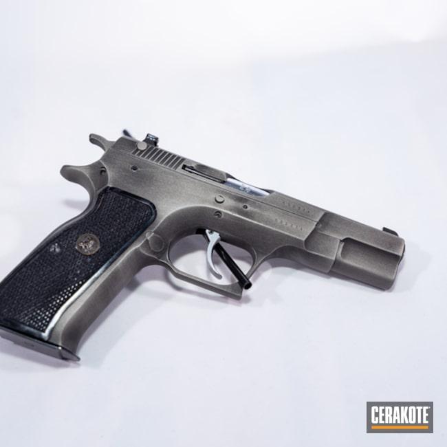 Cerakoted: tangfolio,Graphite Black H-146,Distressed,Titanium H-170,Pistol