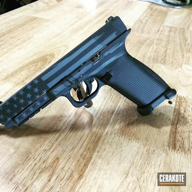 Cerakoted: Sniper Grey H-234,Armor Black H-190,Pistol,Glock,American Flag,Lone Wolf