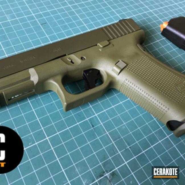 Cerakoted: Two Tone,Pistol,Glock,Glock 17,Noveske Bazooka Green H-189