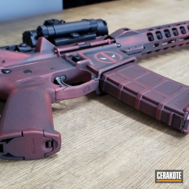 Cerakoted: Graphite Black H-146,Crimson H-221,Deadpool,Tactical Rifle,Marvel Comic,Comic Book Theme