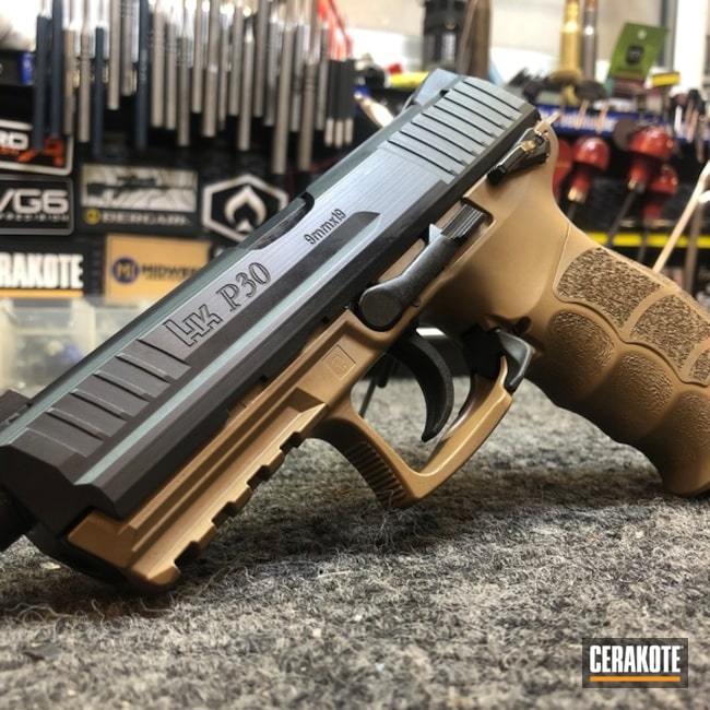 Cerakoted: HKP30,Coyote Tan H-235,HK Pistol,Two Tone,Pistol