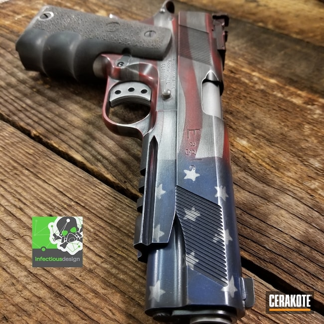 Distressed American Flag 1911 Handgun