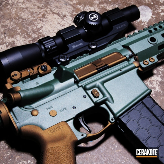Cerakoted: Two Tone,Burnt Bronze H-148,Tactical Rifle,Forest Green H-248