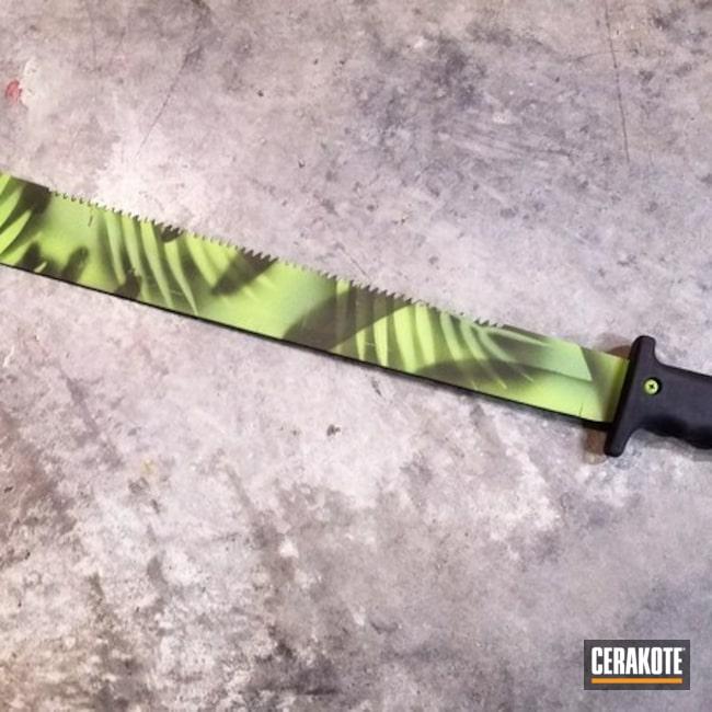 Cerakoted: Machete,Knife Blade,Jungle Camo,Distressed,Zombie Green H-168,Corrosion Protection,More Than Guns,Noveske Bazooka Green H-189,Stencil,Mil Spec Green H-264,Custom Camo,Tools