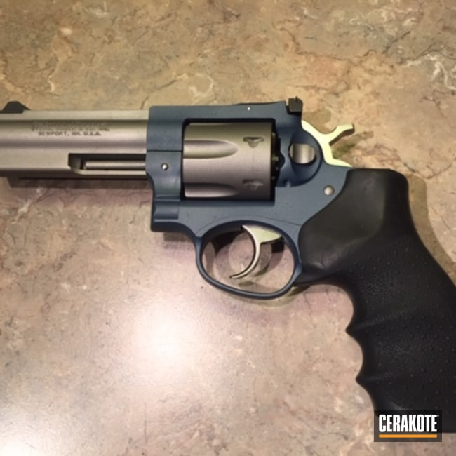 Cerakoted: Ruger,Two Tone,Revolver,SAVAGE® STAINLESS H-150,Ruger GP100,gp100,Double Action,Blue Titanium H-185