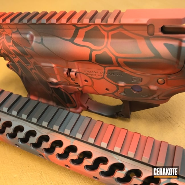 Cerakoted: Sniper Grey H-234,Kryptek,Graphite Black H-146,Upper / Lower / Handguard,Tactical Rifle,SMITH & WESSON® RED H-216