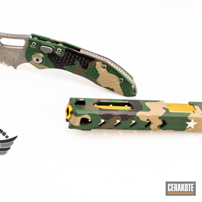 Cerakoted: Highland Green H-200,Microtech,Woodland Camo,Glock 34,Folding Knife,Glock,POF,Slide,Matching Set