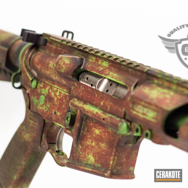 Cerakoted: AR Pistol,Spikes Receiver,Zombie Green H-168,Worn,Tactical Rifle,Grunge Camo,Rust,AR-15,Leadstar Arms