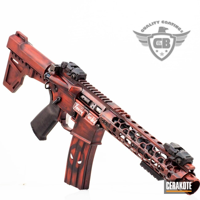 Cerakoted: AR Pistol,Deadpool Theme,FIREHOUSE RED H-216,Deadpool,Tactical Rifle,Marvel Comic,AR-15