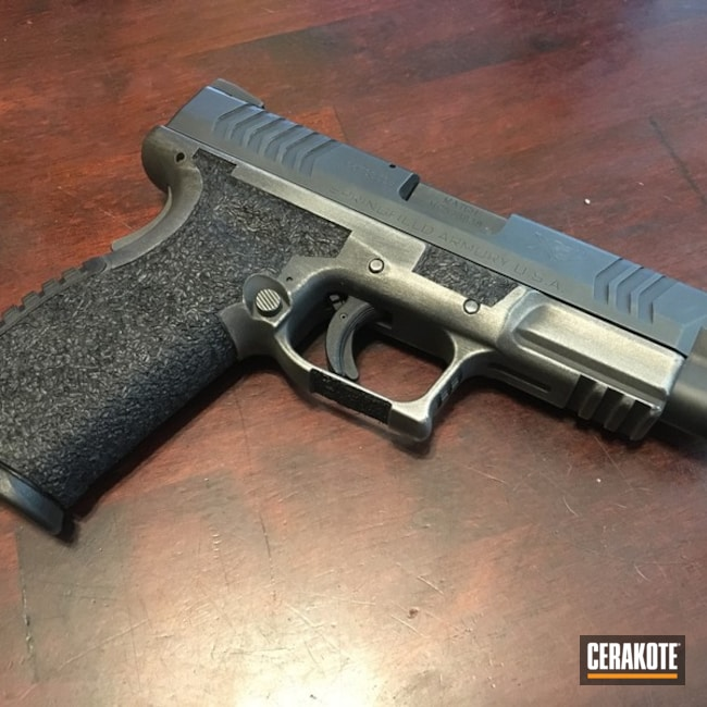 Cerakoted: Battleworn,Graphite Black H-146,Distressed,Springfield XD,Titanium H-170,Pistol,Springfield Armory,Delphi Tactical